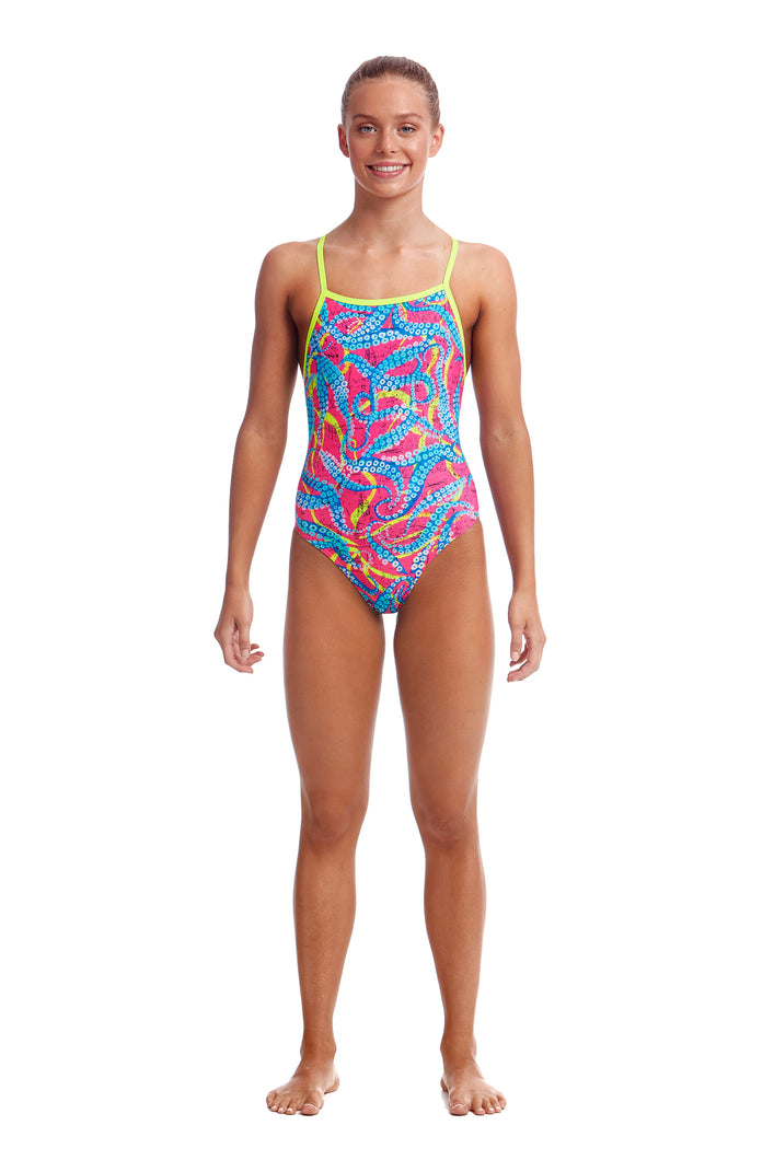 Funkita Girls Eco Tie Me Tight One Piece<br/>Squeaky Squid