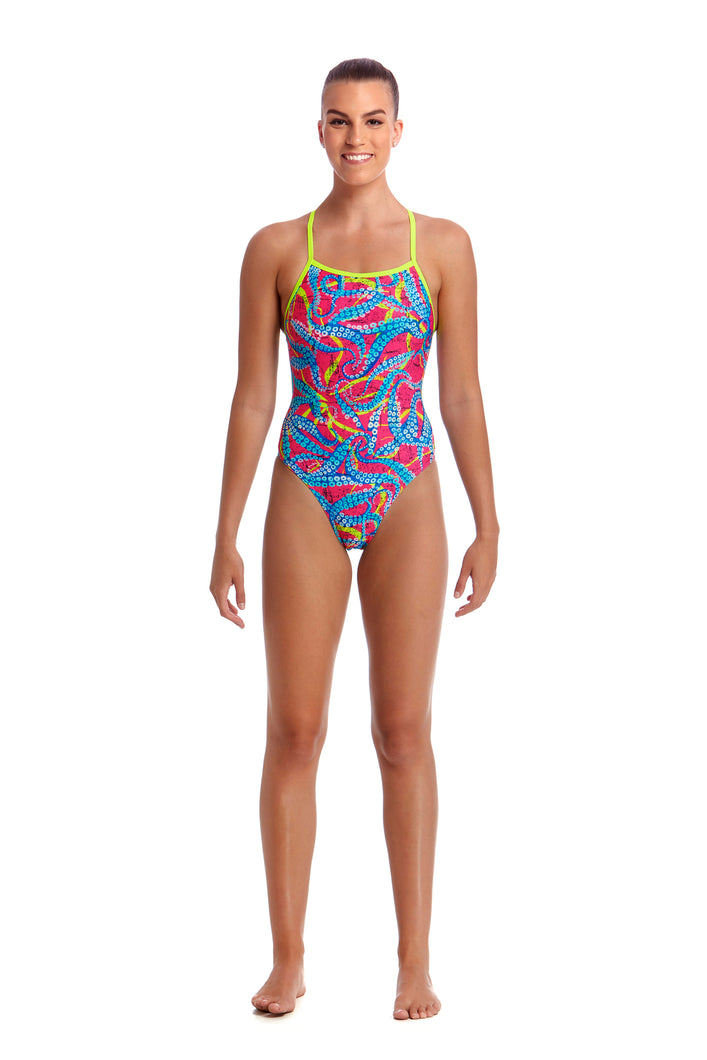 LAST ONE! Funkita Ladies Eco Tie Me Tight One Piece<br/>Squeaky Squid