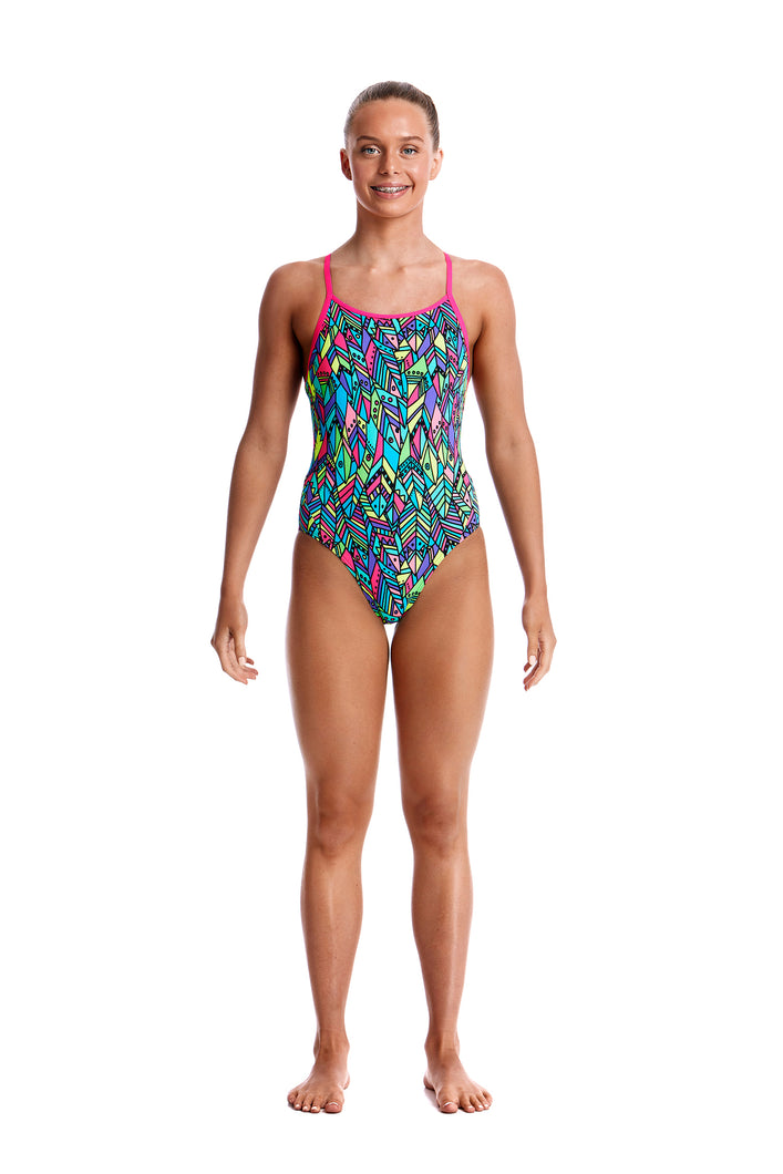 LAST ONE! Funkita Girls Diamond Back One Piece<br/>Feather Fiesta