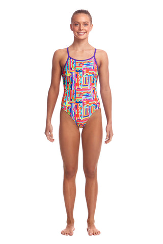 LAST ONE! Funkita Girls Diamond Back One Piece Top Spot