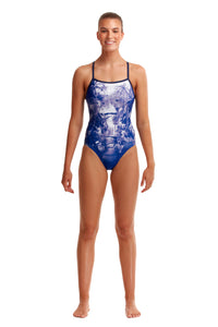 NEW! Funkita Ladies Single Strap One Piece<br/>Falling Water