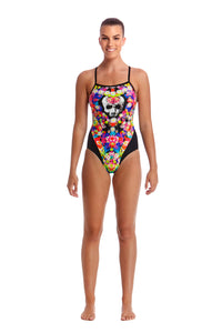 LAST ONE! Funkita Ladies Single Strap One Piece<br/>Skull Garden