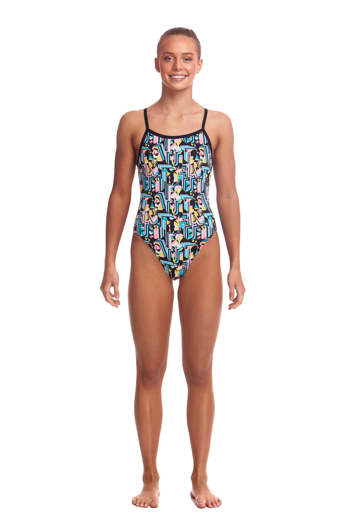 NEW! Funkita Girls Single Strap One Piece<br/>Abstracta