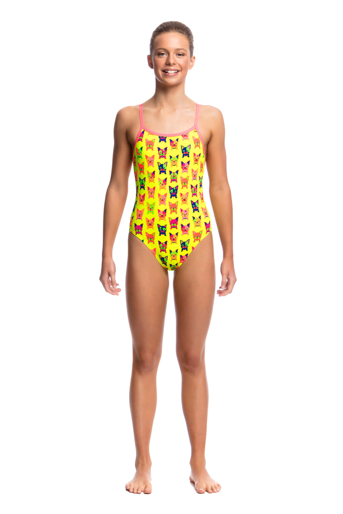 LAST ONE! Funkita Girls Single Strap One Piece<br/>Hot Diggity