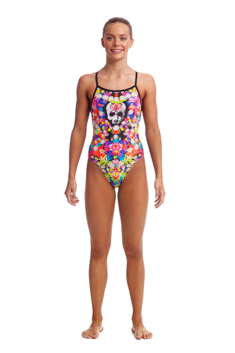 NEW! Funkita Girls Single Strap One Piece<br/>Skull Garden