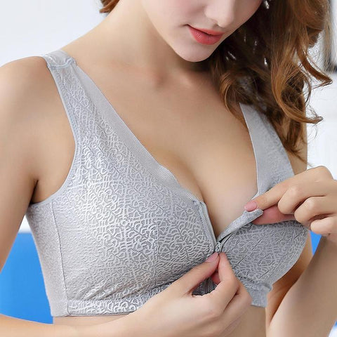 Front Zipper Closure Wirefree Extra Breathable Silk Bra