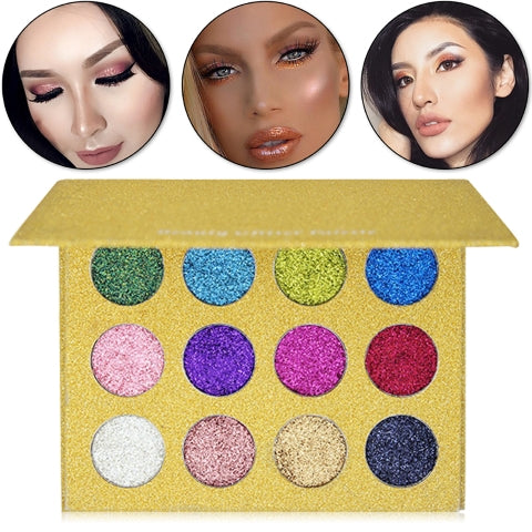12 Colors Glitters Eyeshadows MakeUp