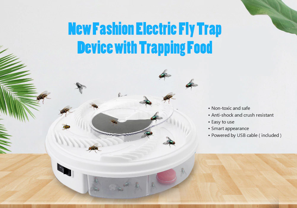 Electric Fly Trap Device with Trapping Food
