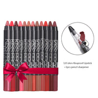 12 Color/Pack Sexy Beauty Waterproof Lipstick