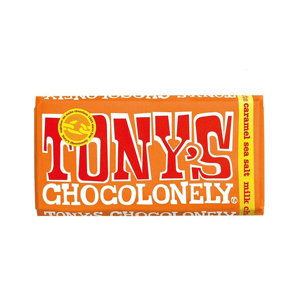 TONY'S CHOCOLONELY MILK CHOCOLATE , CARAMEL AND SEASALT- 180G