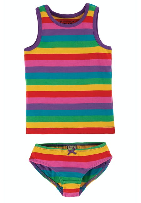 Vest and Brief 2 Pack, Foxglove Rainbow Stripe