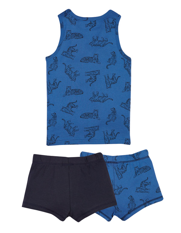 Vest and Brief 3 piece set, Cobalt Tiger