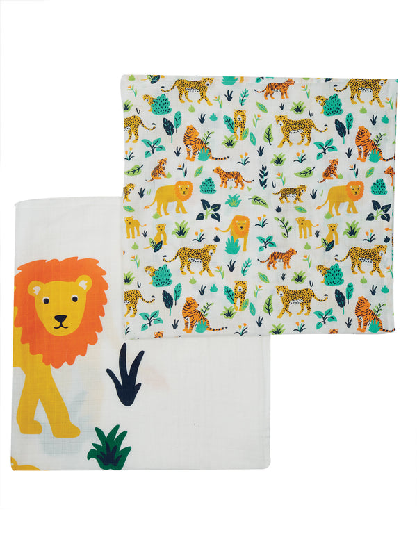 Lovely 2 Pack Muslin, Big Cat Multipack