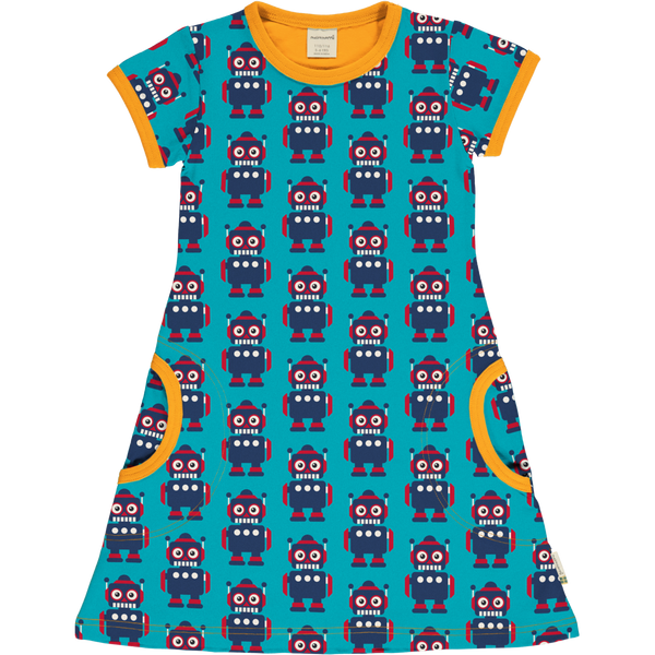 Maxomorra Short Sleeved Dress  CLASSIC ROBOT