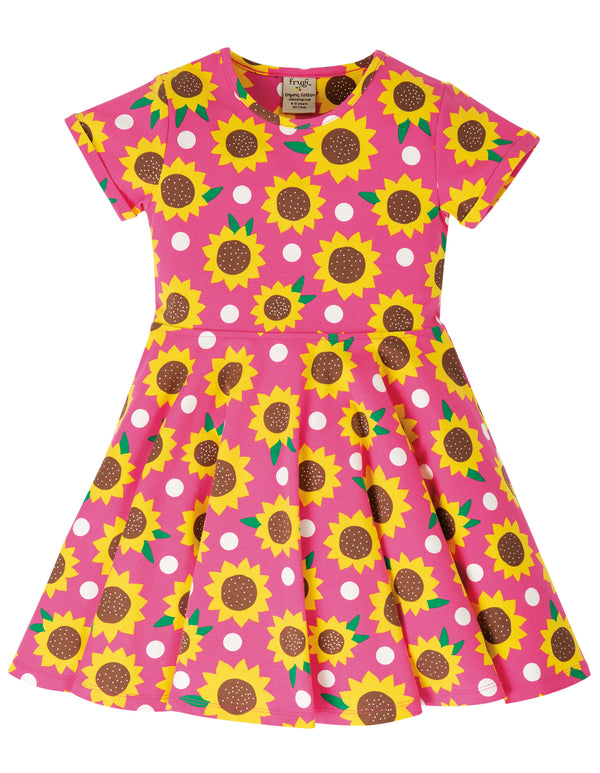 Spring Skater Dress, Flamingo Sunflowers