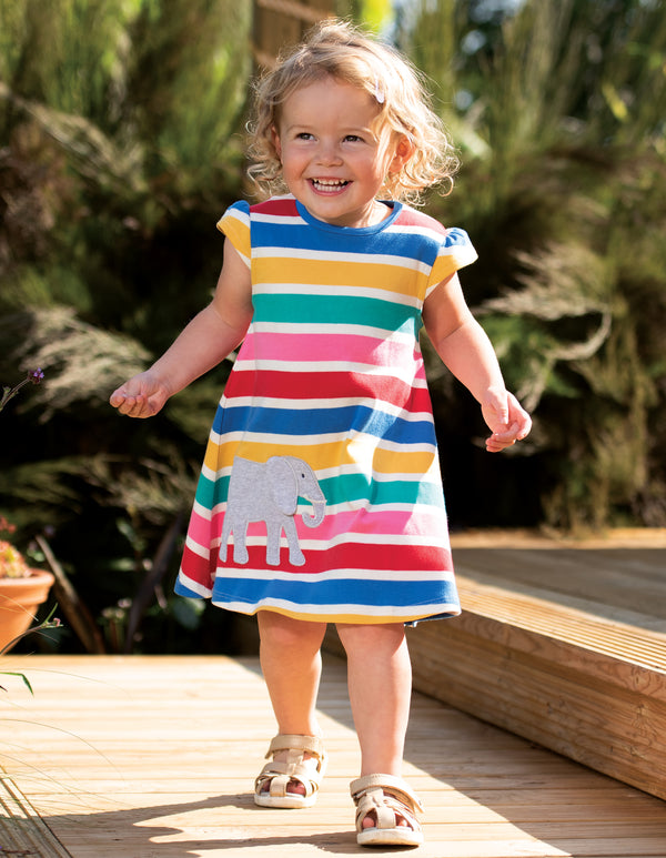 Gianna Dress, Rainbow Multistripe/Elephant
