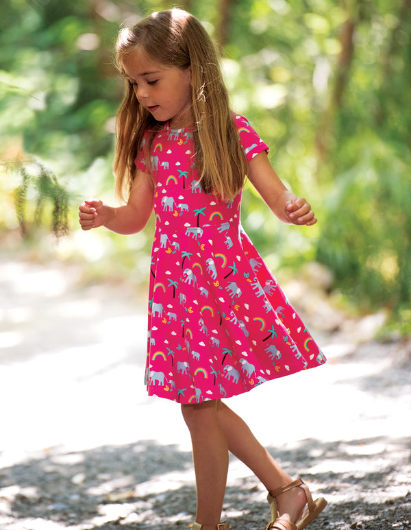 Sofia Skater Dress, Deep Pink Rainbow Walks