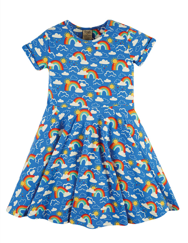 Spring Skater Dress, Rainbow Skies