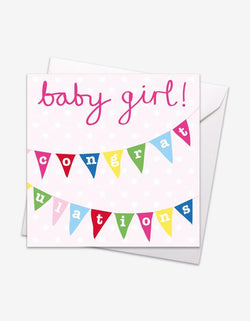 Girl Bunting Baby Card