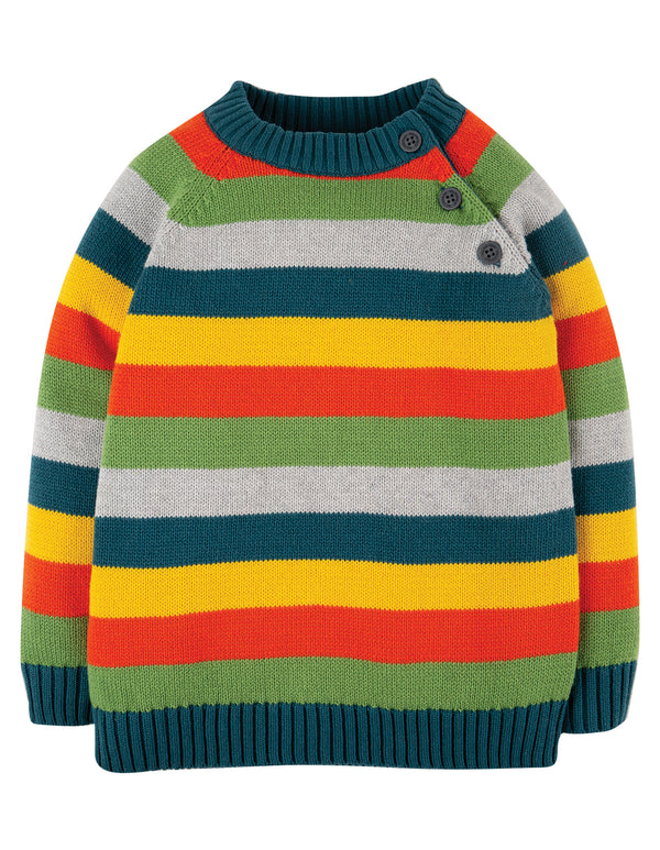 Storm Stripy Jumper, Ginger Rainbow Stripe