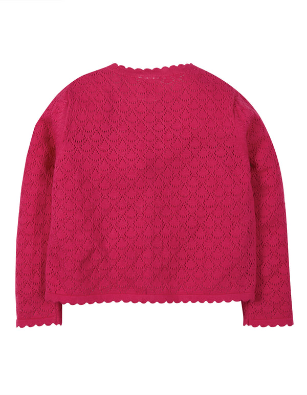 Pea Pointelle Cardigan, Rich Pink