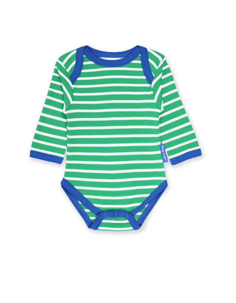 Body. Toby Tiger. Green Breton LS Babygrow