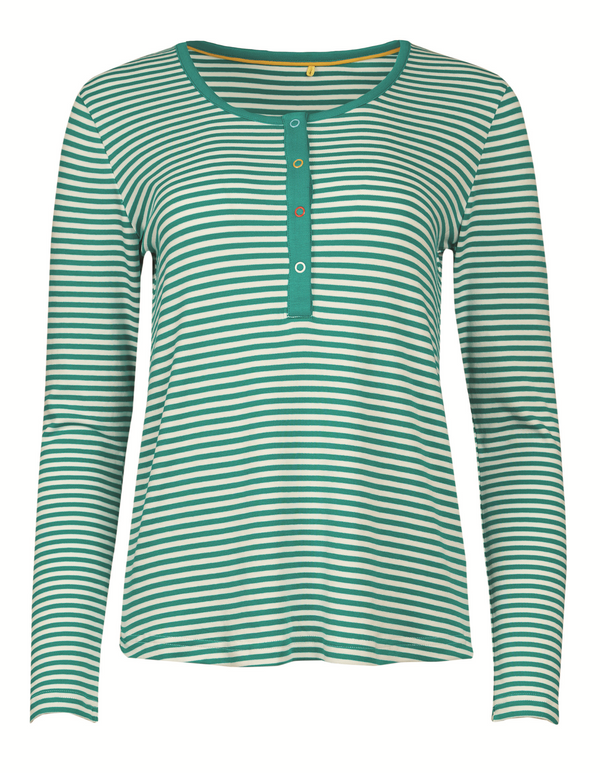 Henley Nursing PJ Top, Jewel Fine Stripe