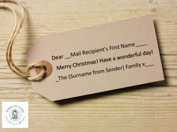 Personalised Tags- Merry Christmas, Have a wonderful Day, from the  (surname) Family