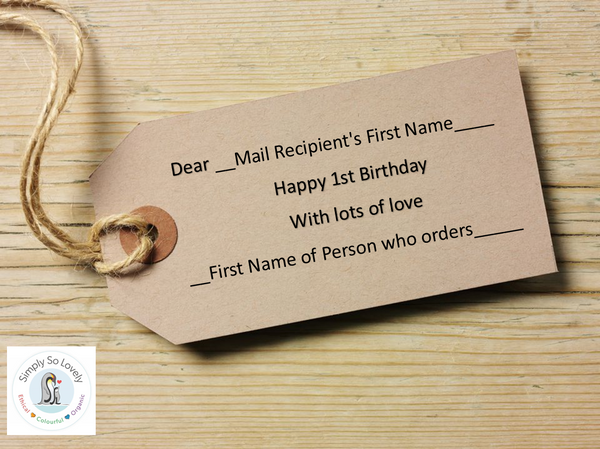 Personalised Tags- Happy 1st Birthday