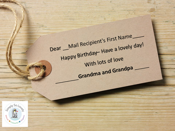 Personalised Tags- Happy Birthday from Grandma and Grandpa