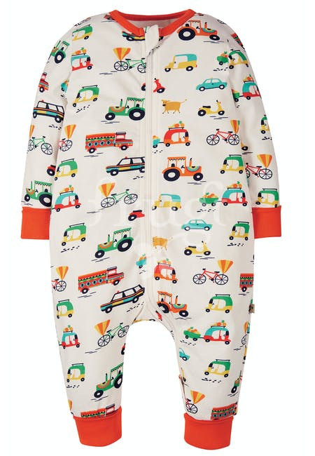 Summer Zip Babygrow, Soft White Toot Toot