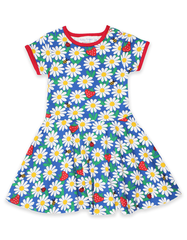 Organic Blue Daisy Print Skater Dress