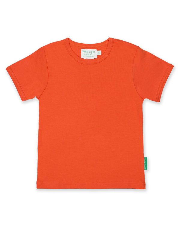 T-shirt. Toby Tiger Orange Basic Short Sleeved