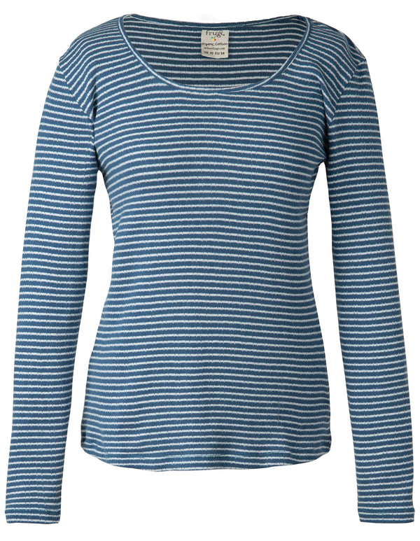 Petal Pointelle Top Steely Blue Stripe