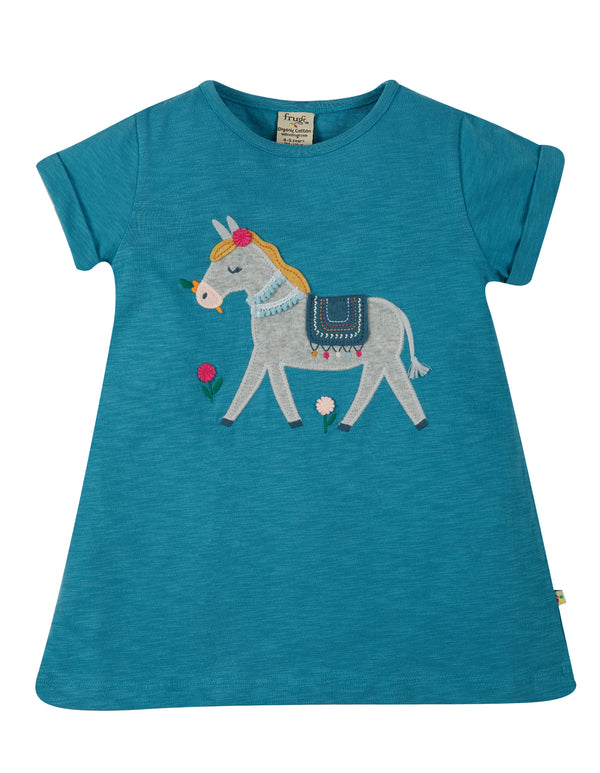 Ariella Applique Top, Sea Blue/Donkey
