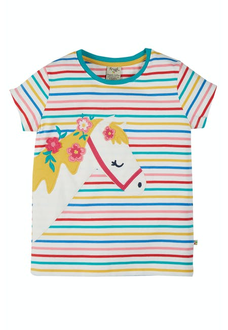 Camille Applique Tee, Soft Multistripe Horse