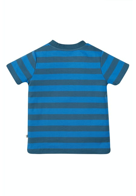 Sid Applique T-Shirt, Blue Stripe/Tractor