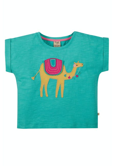 Sophia Slub T-Shirt, Pacific Aqua/ Camel NEW IN!