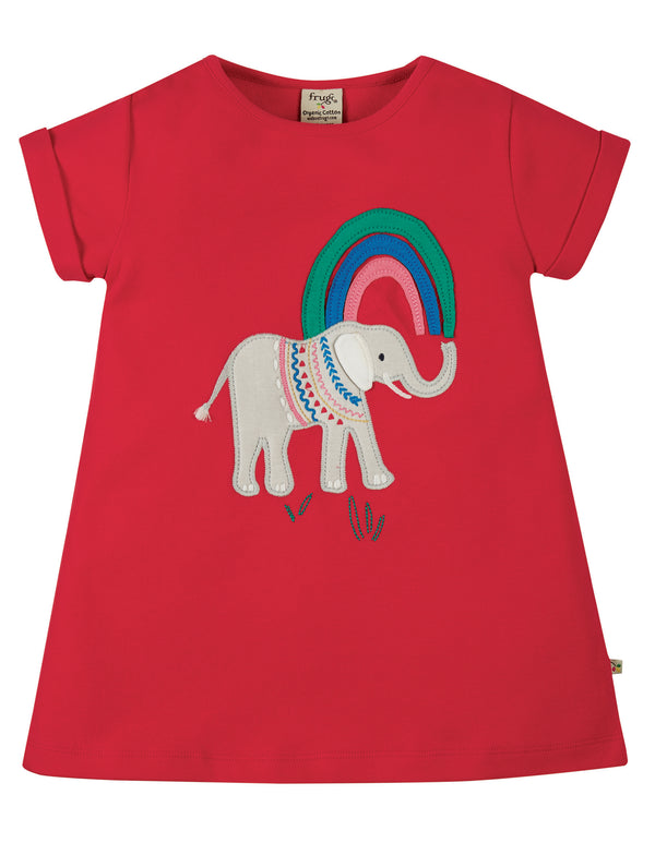 Sophie Applique Top, True Red/Elephant
