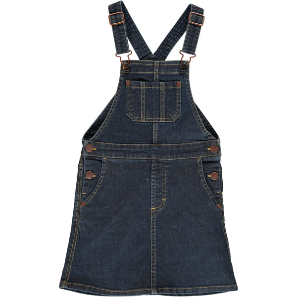 Maxomorra Jean Pinafore Dress Denim- Medium Dark Wash