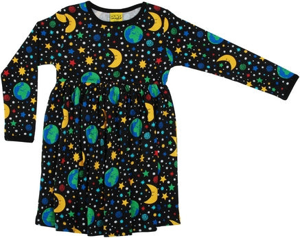 Long Sleeved Gathered Dress Mother Earth Black