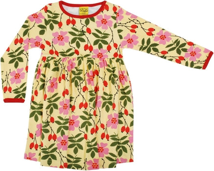 Long Sleeved Gathered Dress Rosehips