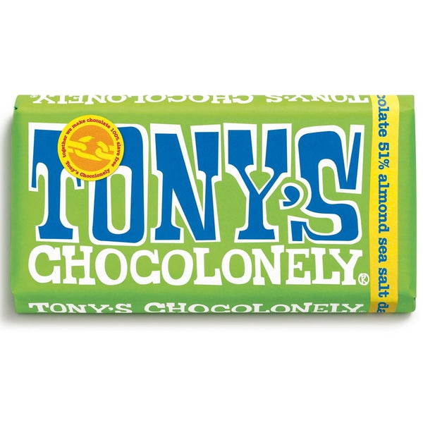 TONY'S CHOCOLONELY DARK CHOCOLATE WITH ALMONDS AND SEA SALT - 180G