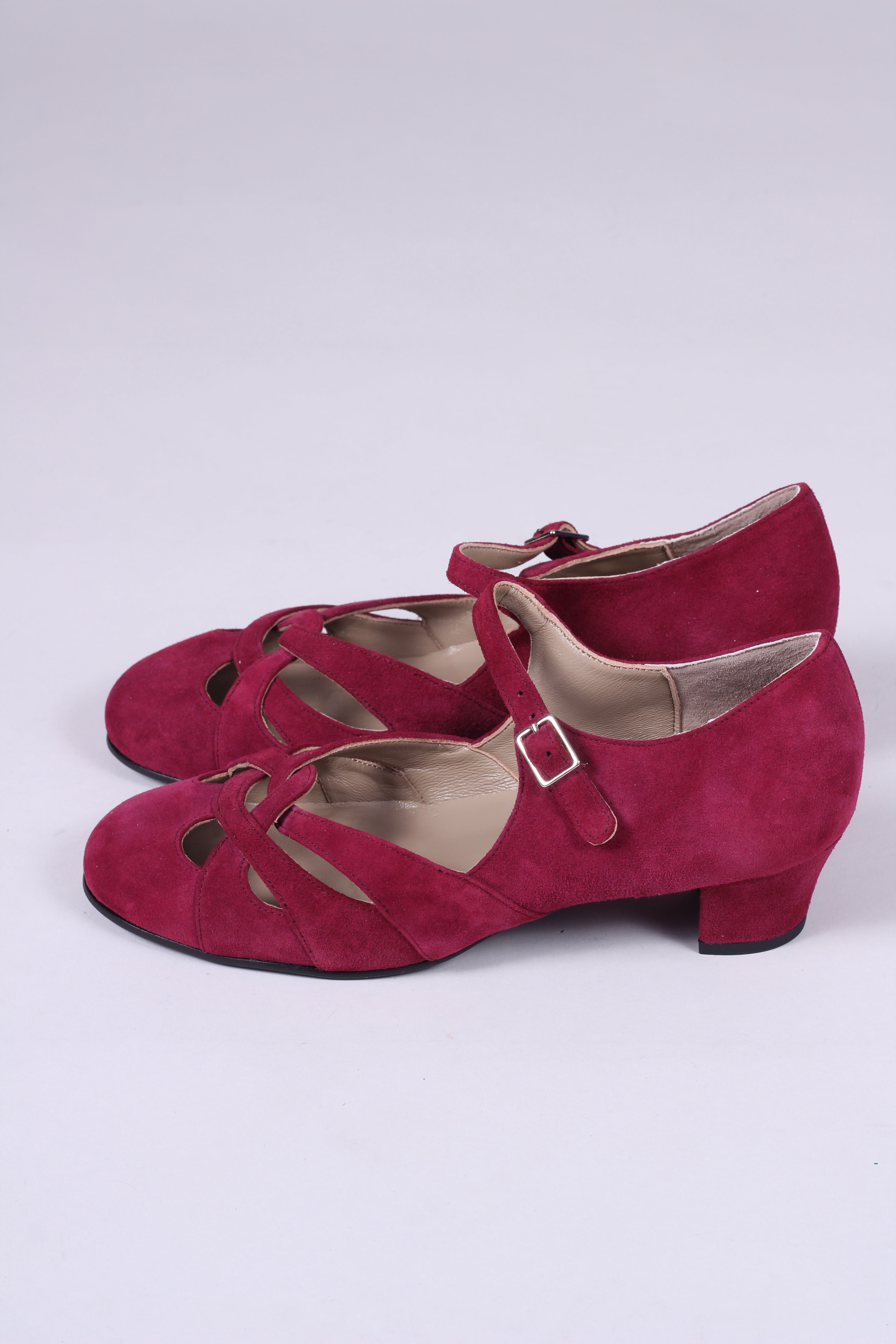 Everyday 1930s /1940s style suede sandals - Burgundy red - Ida