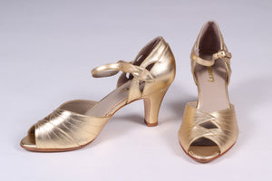 30s inspired high heel evening shoes - gold - Susan