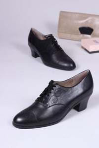 1930s everyday Oxford shoes, black, Juliette