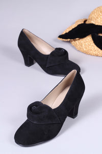 40's vintage style pumps in suede with rosette - Black - Luise