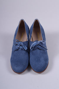 VEGAN shoes - 40s vintage style pumps with shoe lace - Light Blue - Esther