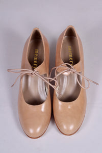 Late 1920's style pumps with shoe lace - Cream - Charlotte