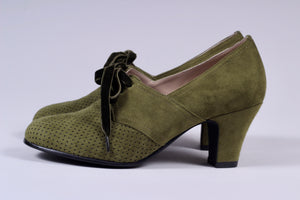 VEGAN shoes - 40s vintage style pumps with shoe lace - Green - Esther
